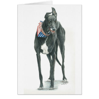 Patriotic Greyhound Dog Art Notecard