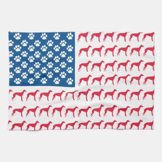 Patriotic Greyhound Dog Kitchen Towel