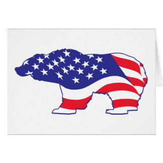 Patriotic Grizzly Bear Card