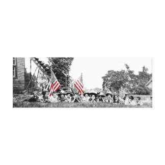 Patriotic Group Women American Flag Circa 1910 Canvas Print