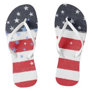 Patriotic Grunge Stars and Stripes Flip Flops