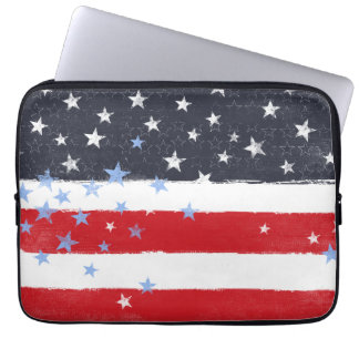 Patriotic Grunge Stars and Stripes Laptop Sleeve