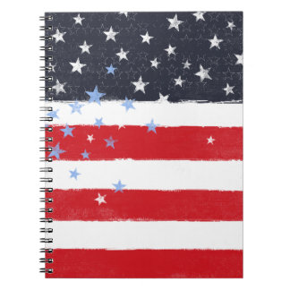 Patriotic Grunge Stars and Stripes Notebook