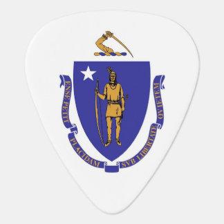 Patriotic guitar pick with Flag of Massachusetts
