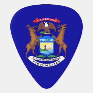 Patriotic guitar pick with Flag of Michigan