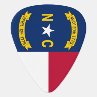 Patriotic guitar pick with Flag of North Carolina
