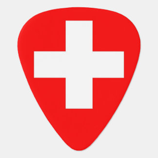 Patriotic guitar pick with Flag of Switzerland