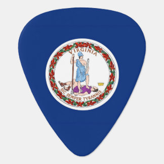 Patriotic guitar pick with Flag of Virginia