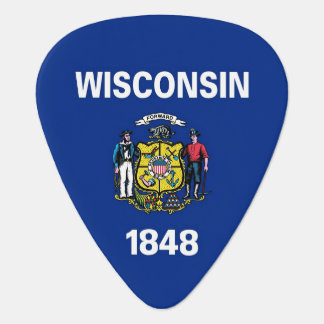 Patriotic guitar pick with Flag of Wisconsin