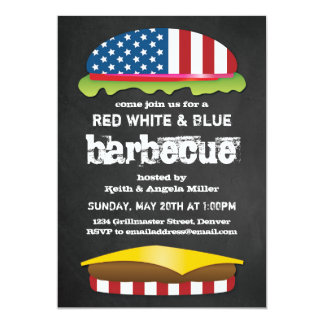 Patriotic Hamburger BBQ Card