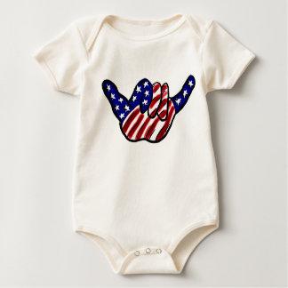 Patriotic hang loose baby creeper