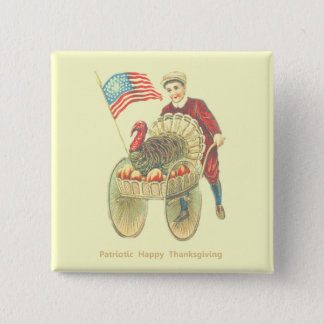 Patriotic Happy Thanksgiving 2 Inch Square Button