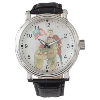 Patriotic Happy Thanksgiving Vintage Leather Strap Watch