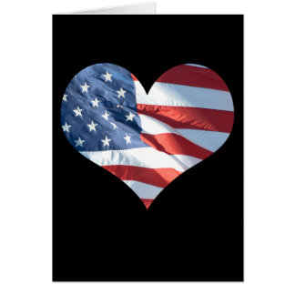 Patriotic Heart Shaped American Flag Card