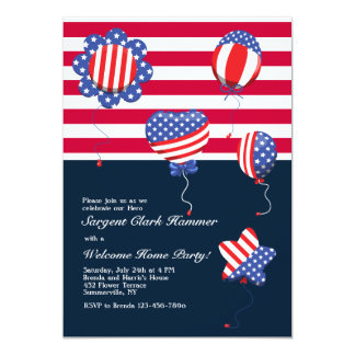 Patriotic Helium Balloons Invitation