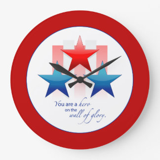 Patriotic Hero Wall of Glory, Thank You Military Large Clock