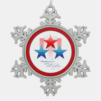 Patriotic Hero Wall of Glory, Thank You Military Snowflake Pewter Christmas Ornament