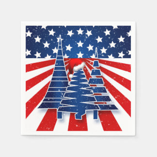 Patriotic Holiday Celebration with Christmas Trees Paper Napkins