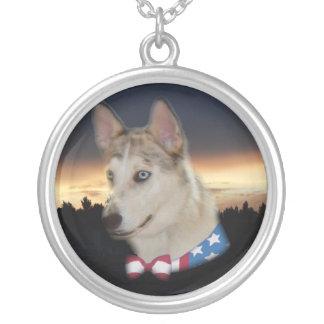 Patriotic Husky Dog Sunset Round Pendant Necklace