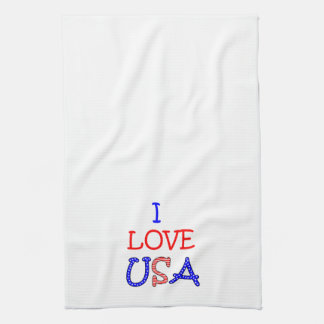 Patriotic I Love USA Hand Towels