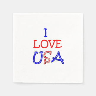 Patriotic I Love USA Paper Napkins