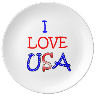 Patriotic I Love USA Porcelain Plate