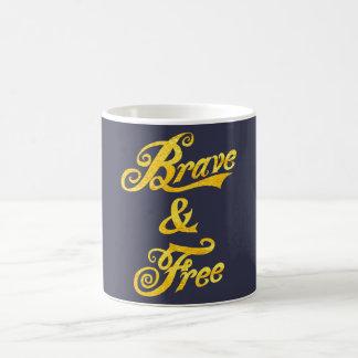 Patriotic Independence Day Brave & Free  Mug  Gold
