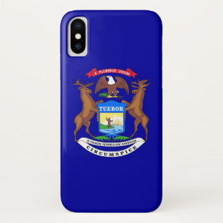 Patriotic Iphone X Case with Flag of Michigan