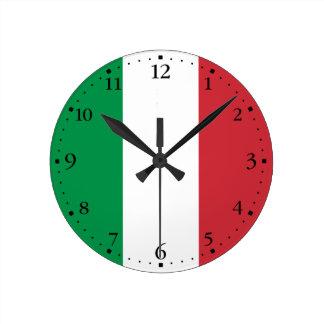 Patriotic Italian Flag Round Clock