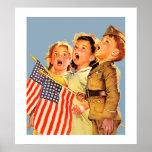 Patriotic Kids 1940s Vintage Magazine Illustration Poster