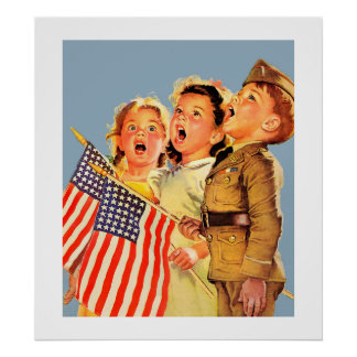 Patriotic Kids 1940s Vintage Magazine Illustration Poster