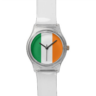 Patriotic kids watch with Flag of Ireland
