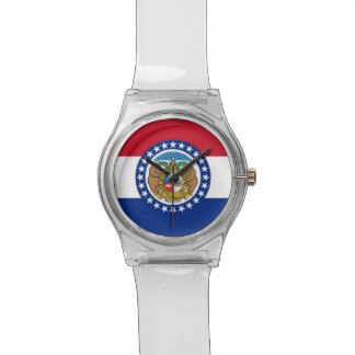 Patriotic kids watch with Flag of Missouri
