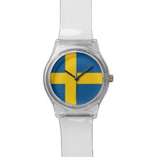 Patriotic kids watch with Flag of Sweden