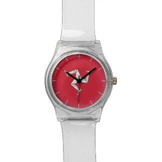 Patriotic kids watch with Isle of  Man Flag, UK