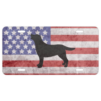 Patriotic Labrador Outline American Flag License Plate