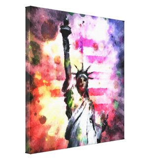 Patriotic Lady of Liberty Stretched Canvas Print
