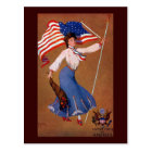 Patriotic Lady, US flag and Eagle Postcard