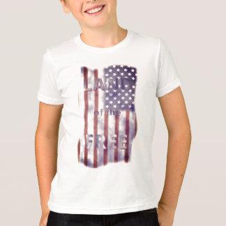 Patriotic Land of the Free American Flag Boys T-Shirt