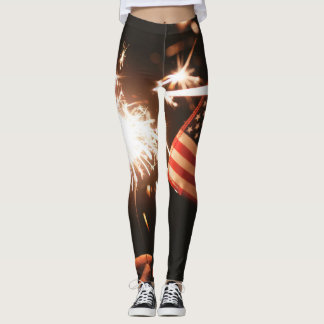 Patriotic Leggins Flag Fireworks Red White Blue Leggings