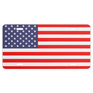 Patriotic license plate with American flag | USA