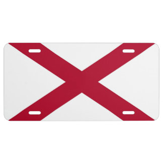 Patriotic license plate with Flag of Alabama