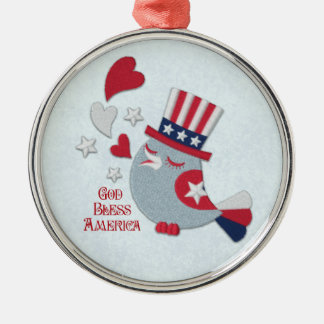 Patriotic Little Bird Tweets God Bless America Silver-Colored Round Ornament