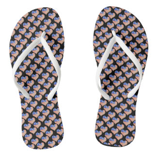 Patriotic Little Hearts Patterned Flip Flops