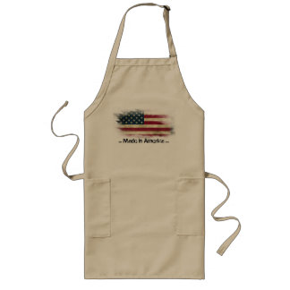 Patriotic Long Beige Apron, quote: Made in America Long Apron