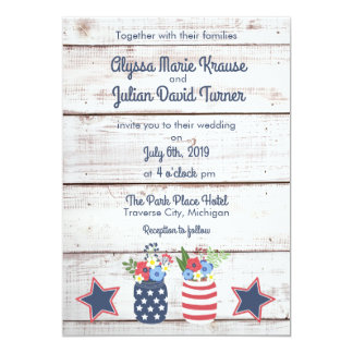 Patriotic Love II Rustic Fourth of July Wedding Card