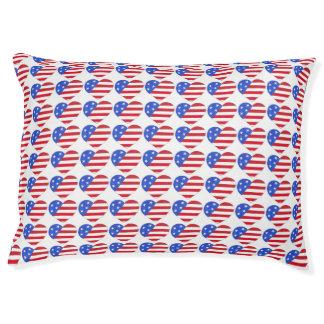 Patriotic Love USA American Flag Heart Dog Bed Large Dog Bed