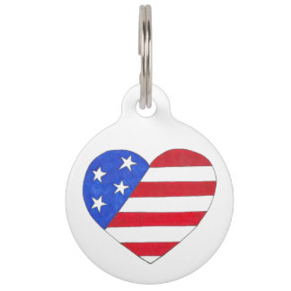Patriotic Love USA American Flag Heart Dog Tag