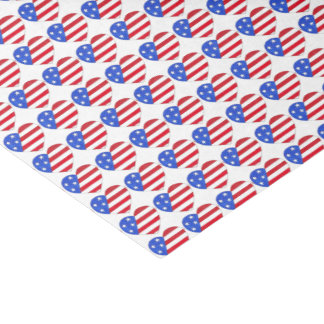 Patriotic Love USA American Flag Heart Print Gift Tissue Paper