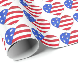 Patriotic Love USA American Flag Heart Print Gift Wrapping Paper